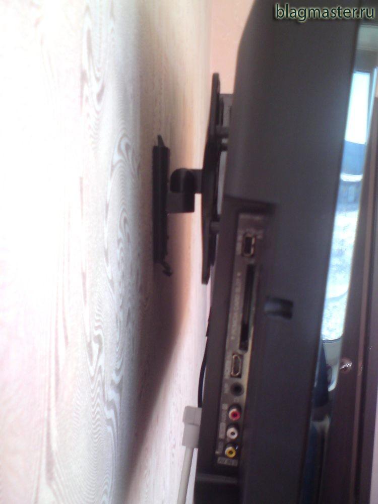 Крепление телевизора на стену. Вид с боку.