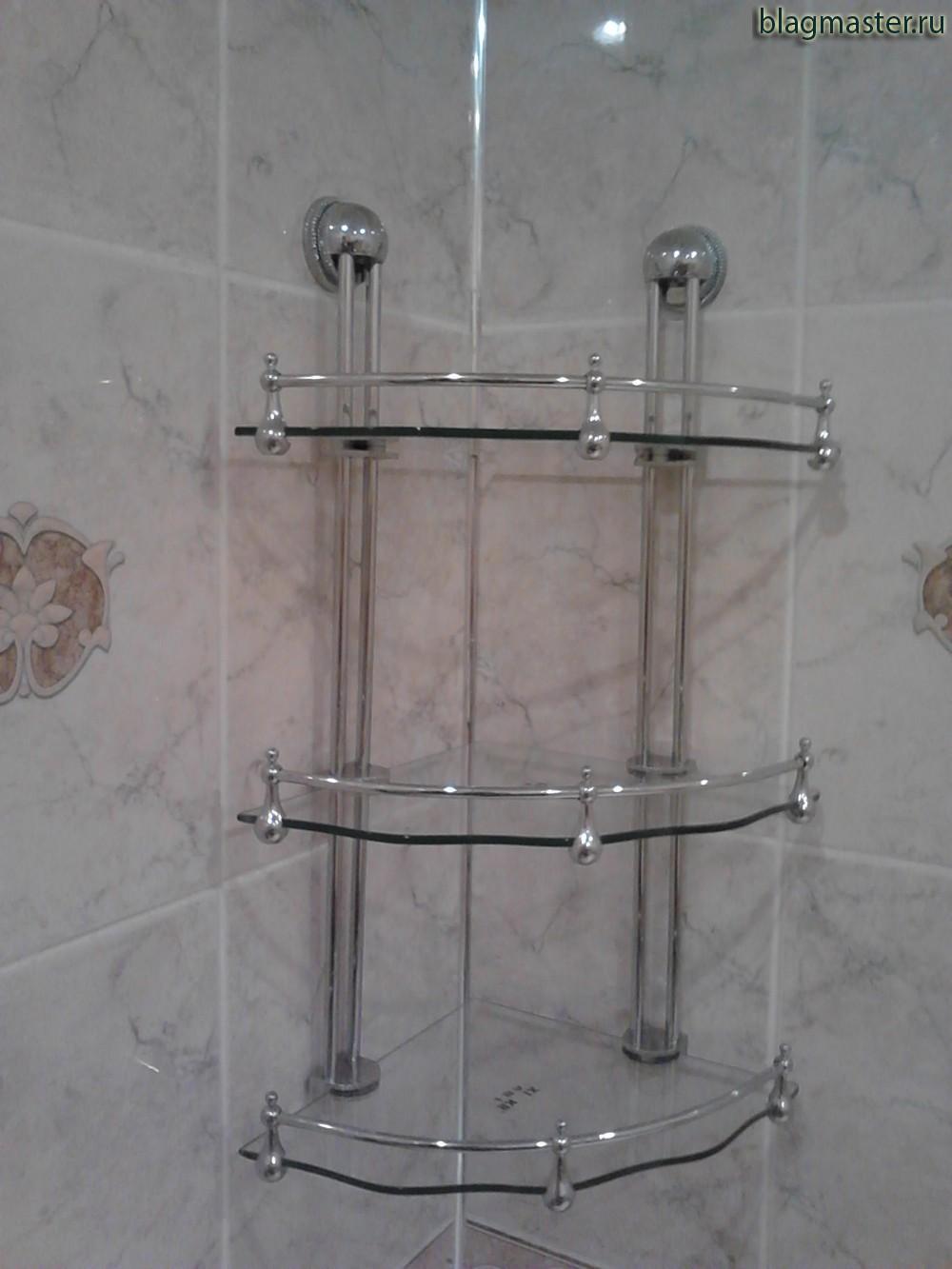 Крепление угловой полки в ванной.